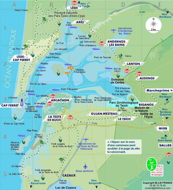 bassin d arcachon carte CARTE et PLANS du Bassin d'Arcachon, annuaire d'entreprises